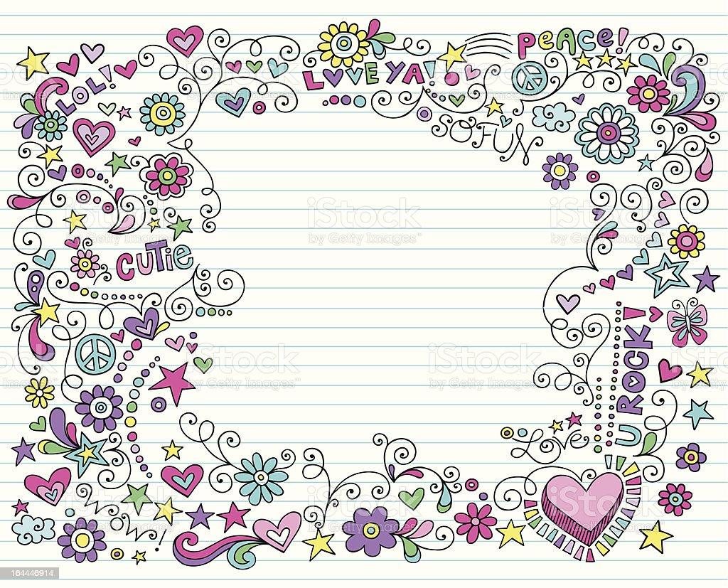 Groovy Notebook Doodle Design Elements royalty-free stock vector art