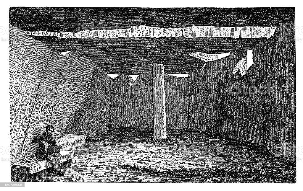 Grotto near Saumur (antique wood engraving) royalty-free stock vector art