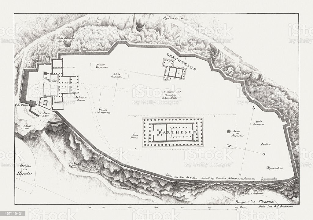 Ground plan of the Acropolis in Athens, lithograph, published c.1830 vector art illustration