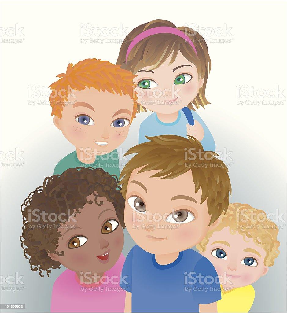Group of children looking up - diversity kids royalty-free stock vector art
