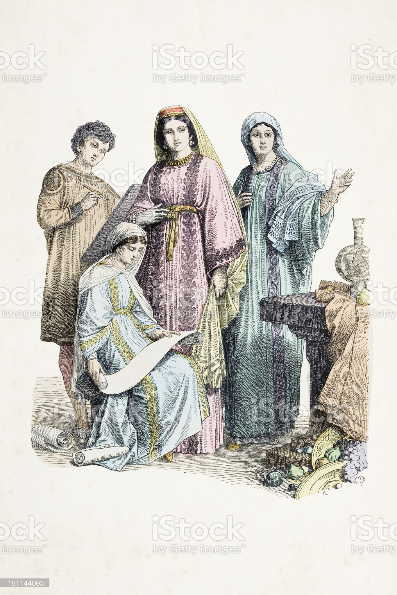 Group of christians with different costumes from the 4th century royalty-free stock vector art