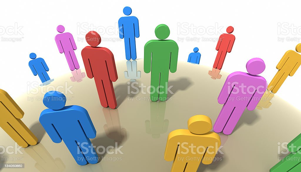 Group of colorful people vector art illustration