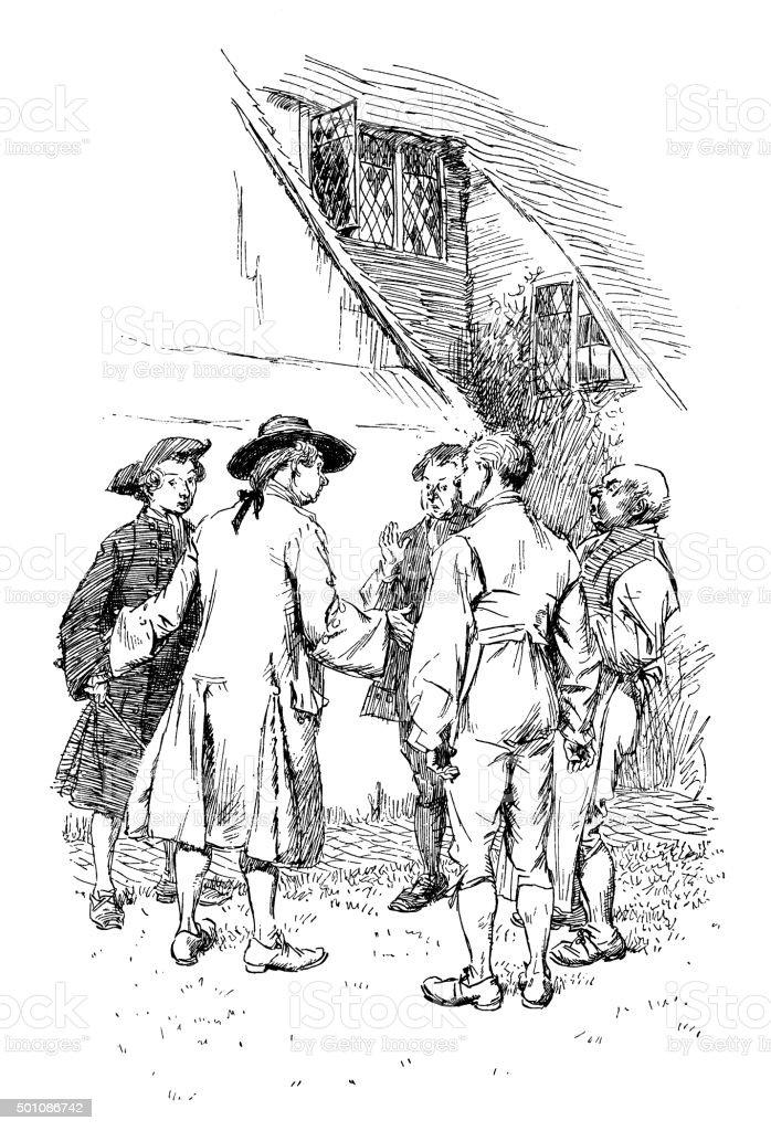 Group of eighteenth century men talking vector art illustration