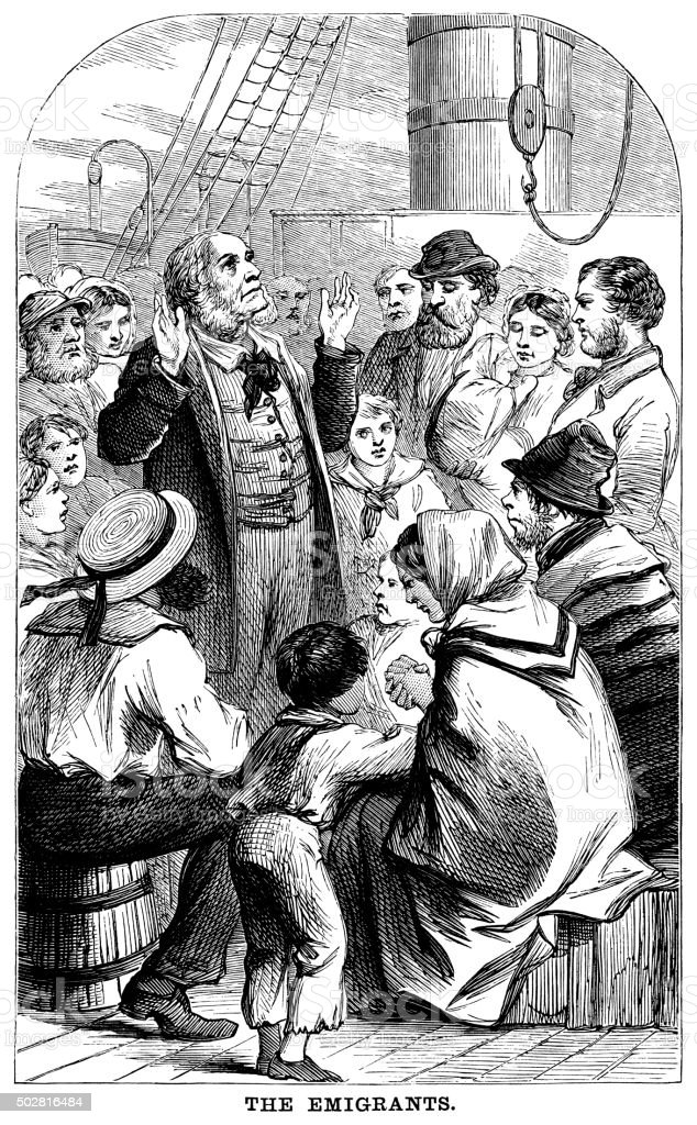Group of emigrants on board ship vector art illustration