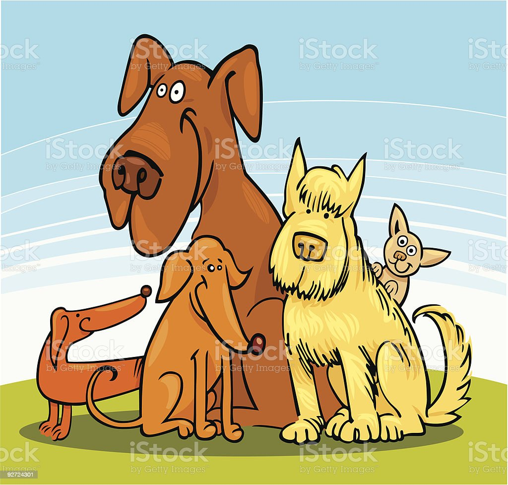 Group of five funny Dogs vector art illustration