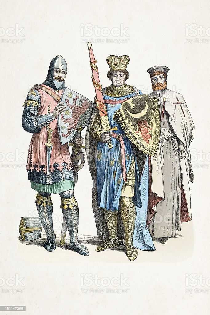 Group of german knight, prince and templar from 13th century vector art illustration