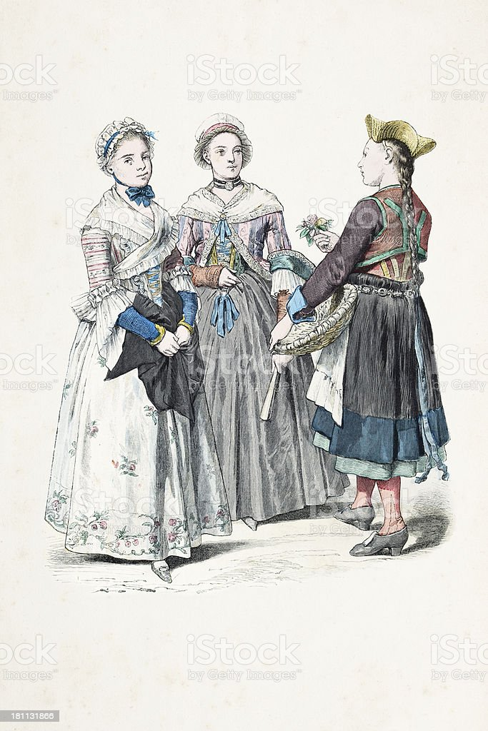 Group of german women in traditional clothing from 1770 royalty-free stock vector art