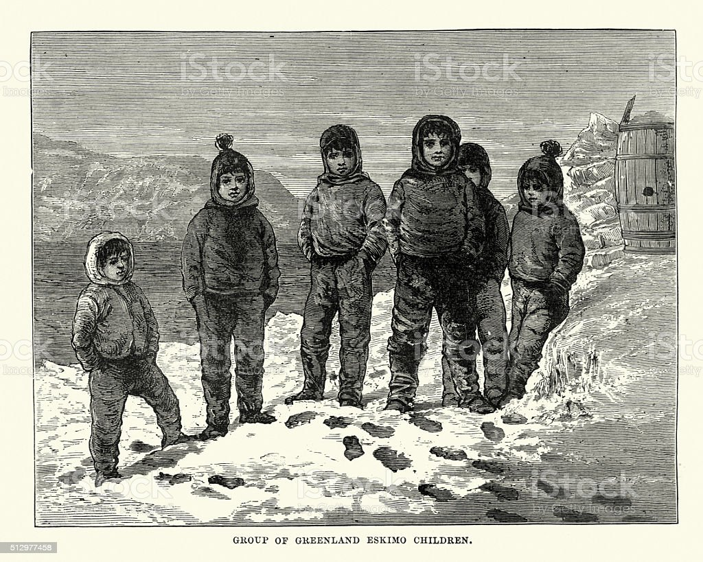Group of Greenland Eskimo Children vector art illustration