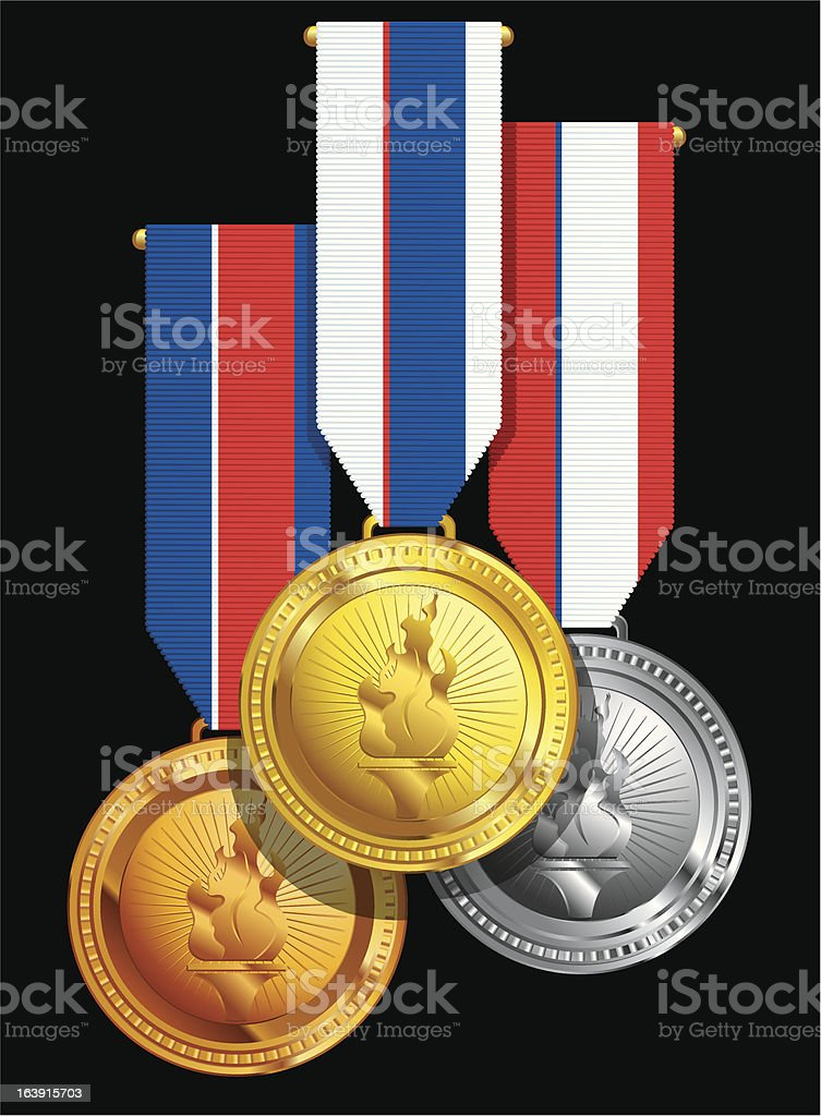 group of hanging medal awards royalty-free stock vector art