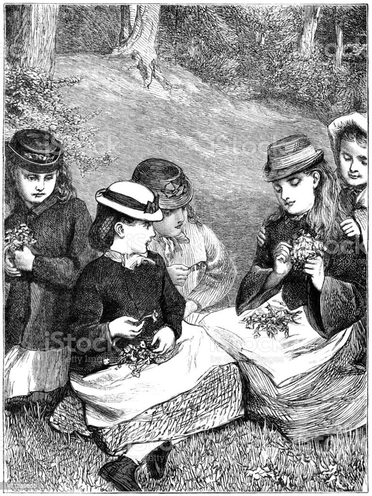 Group of little Victorian girls making wildflower posies vector art illustration