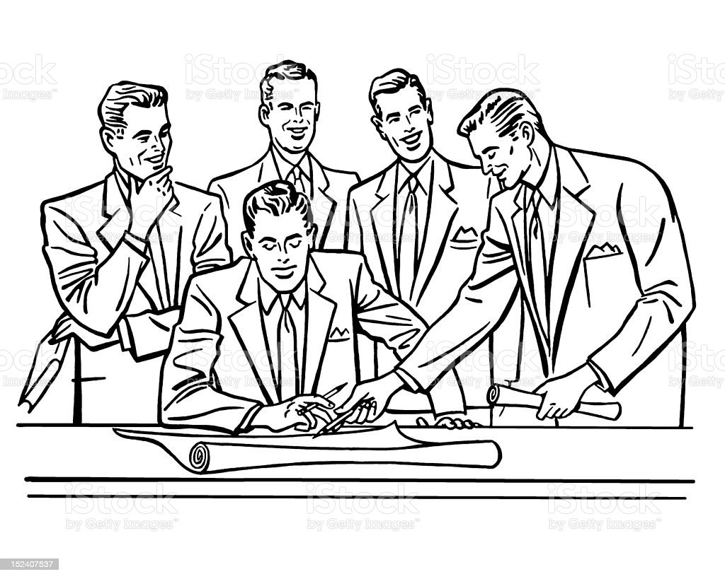 Group of Men During Meeting royalty-free stock vector art