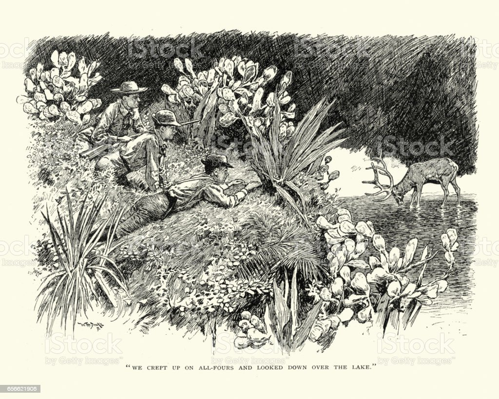 Group of men hunting a stag, 19th Century vector art illustration