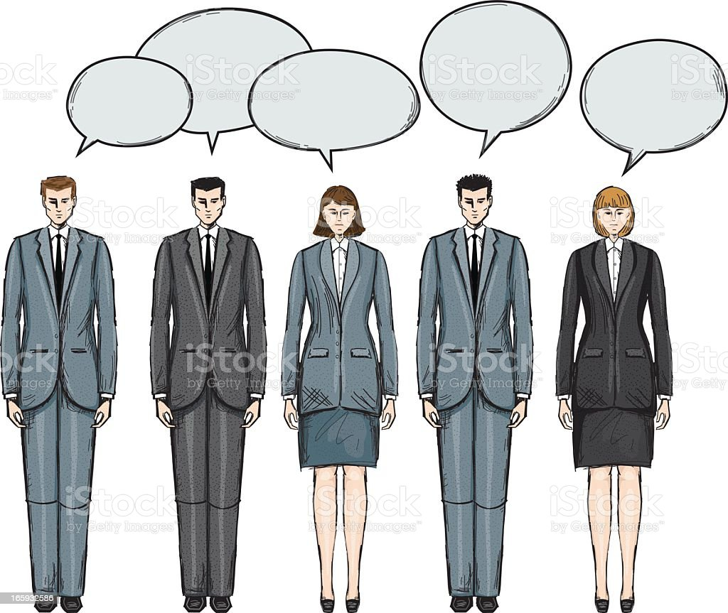 Group Of Office People Talking vector art illustration