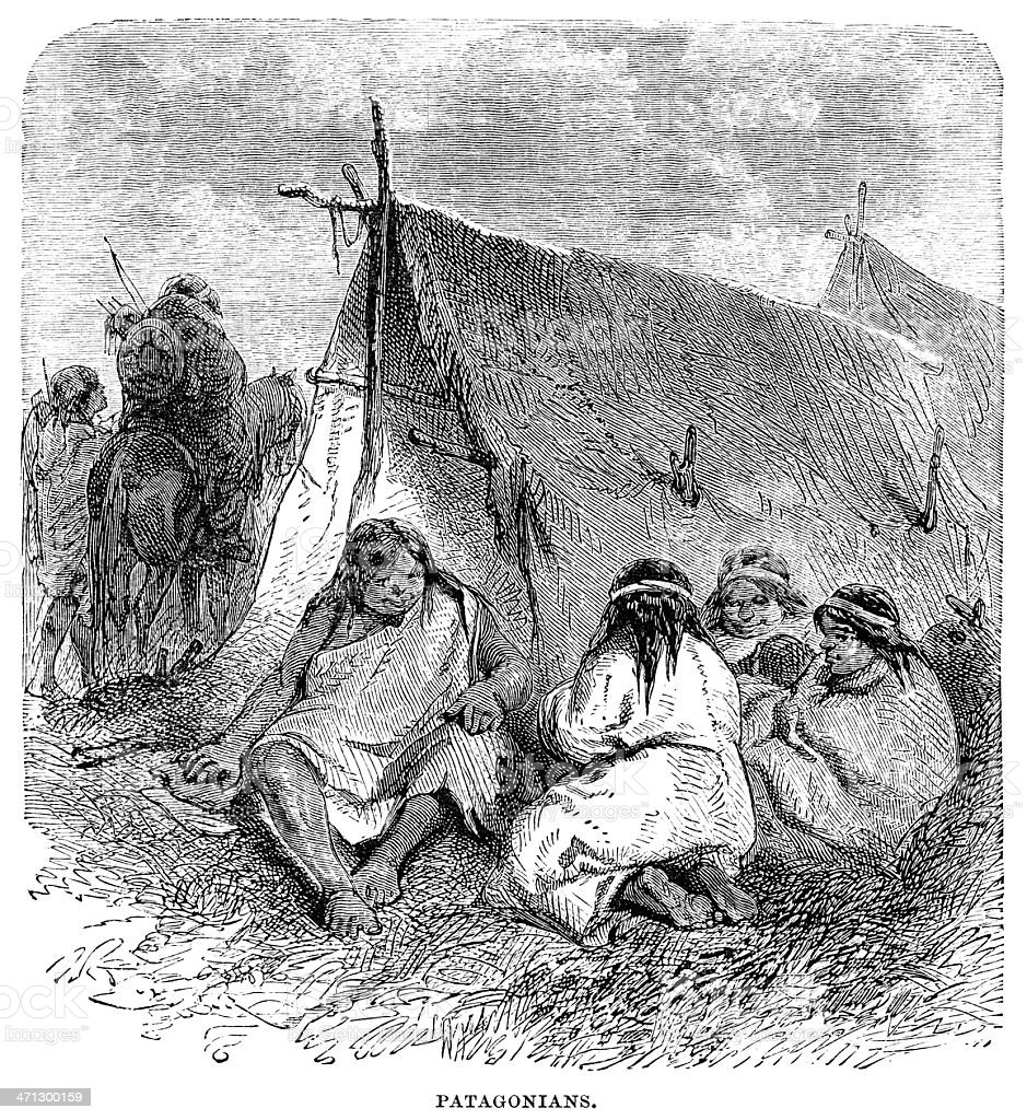 Group of Patagonian women outside a tent (1882 engraving) vector art illustration