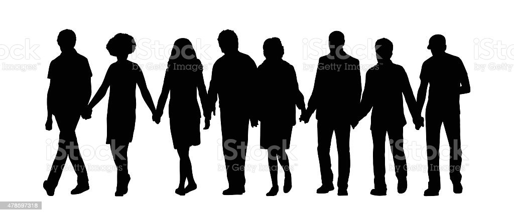 group of people holding hands silhouette 1 vector art illustration