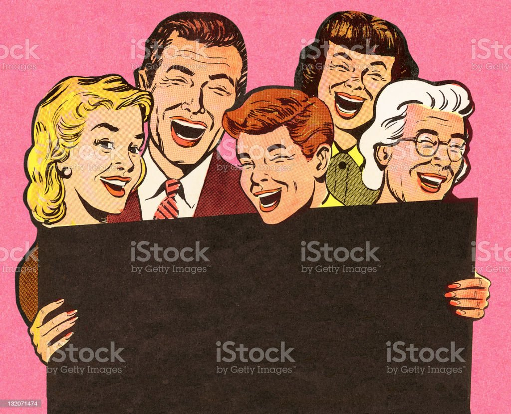 Group of People Laughing vector art illustration