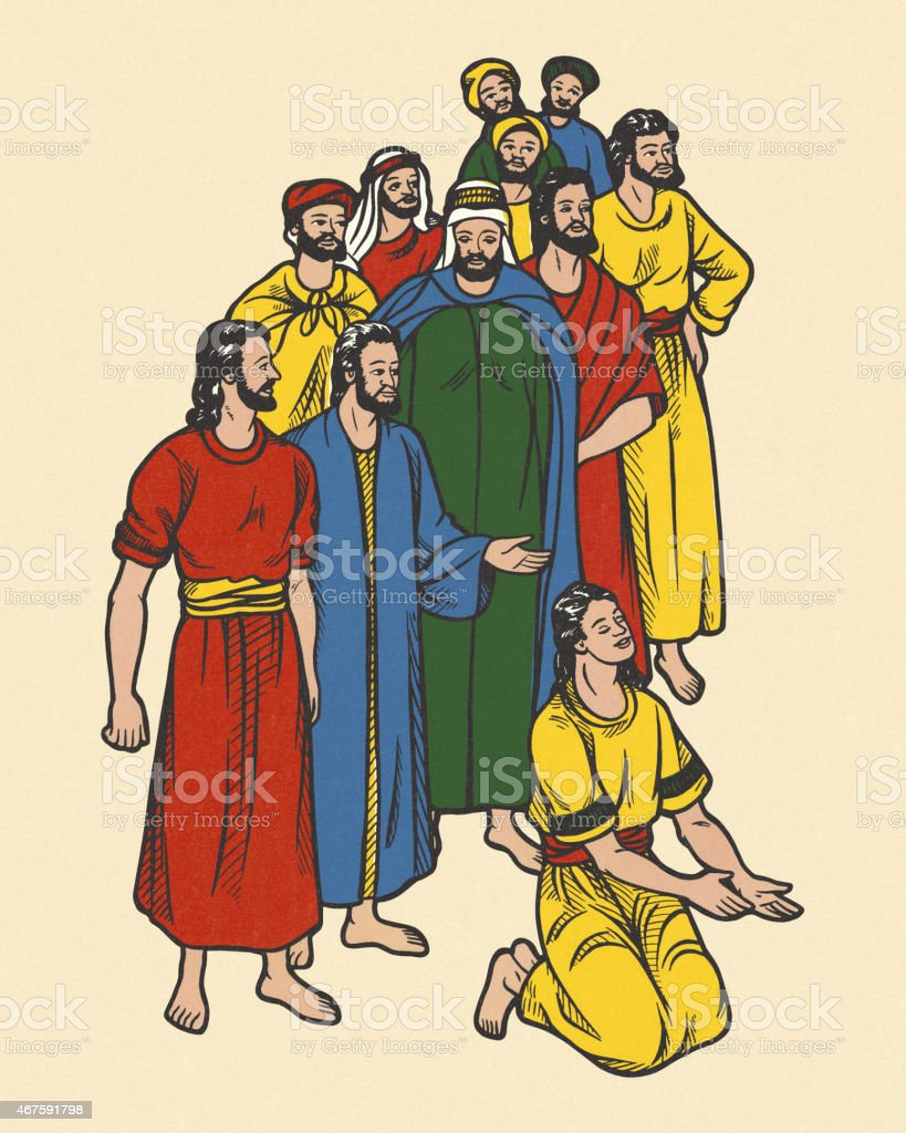 Group of People Wearing Robes vector art illustration