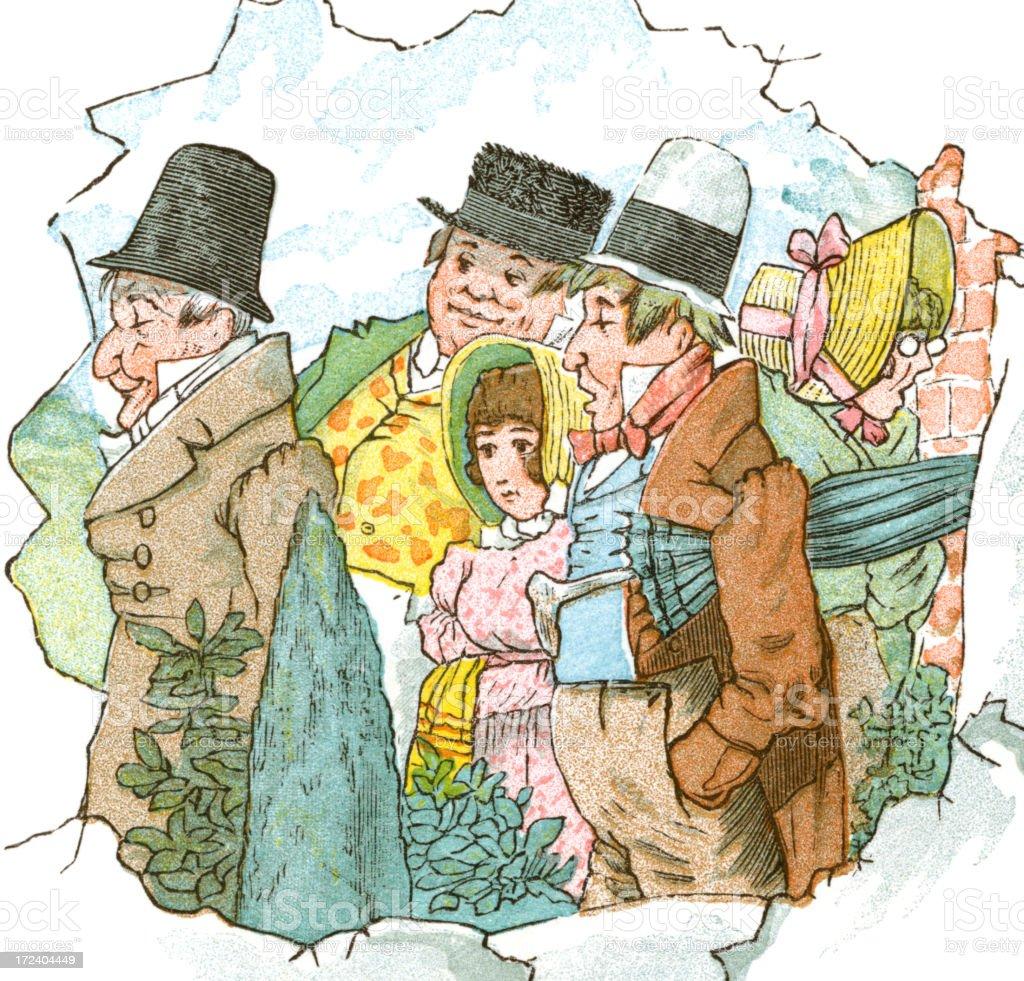 Group of Regency period people royalty-free stock vector art