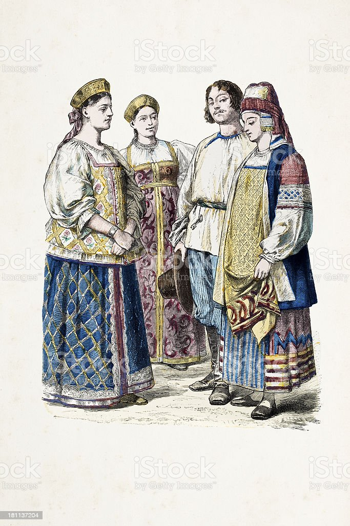 Group of russian citizens in traditional clothing from 19th century royalty-free stock vector art
