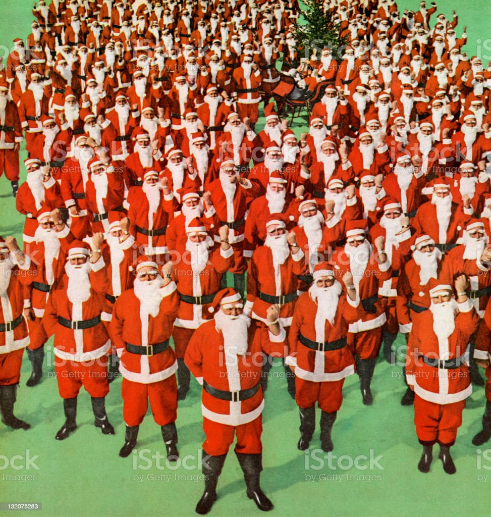 Group of Santas royalty-free stock vector art