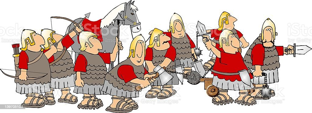 Group of soldiers vector art illustration
