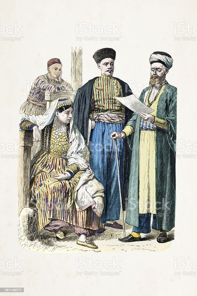Group of Tatars with traditional clothing from 19th century royalty-free stock vector art