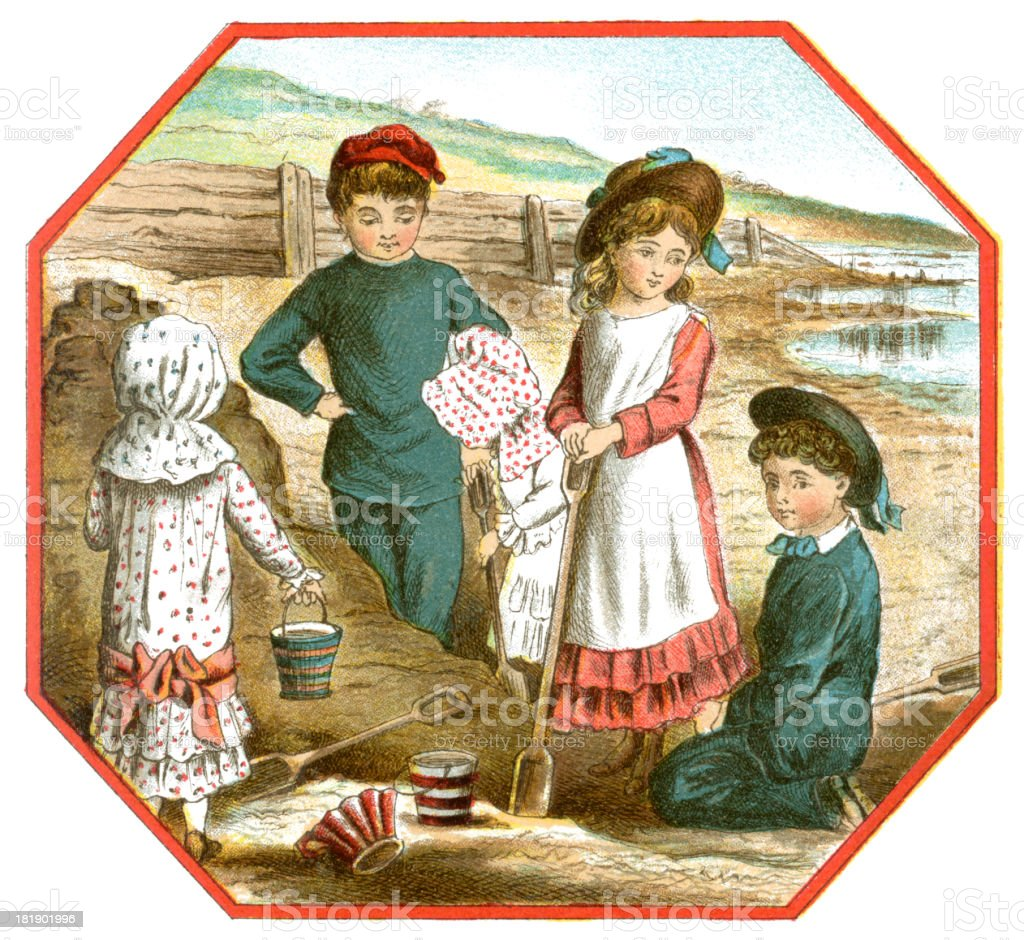 Group of Victorian children on a beach royalty-free stock vector art