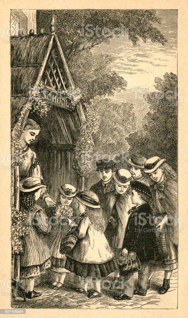 Group of Victorian children outside their school vector art illustration