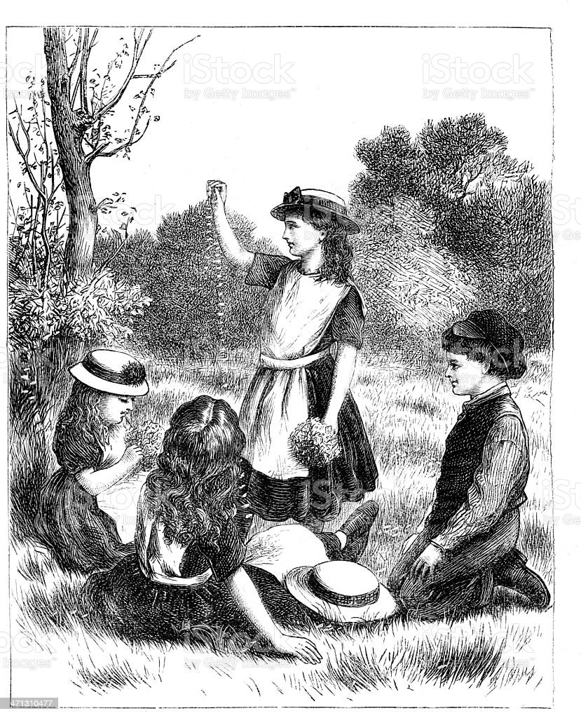 Group of Victorian children playing outdoors with flowers1867 magazine vector art illustration