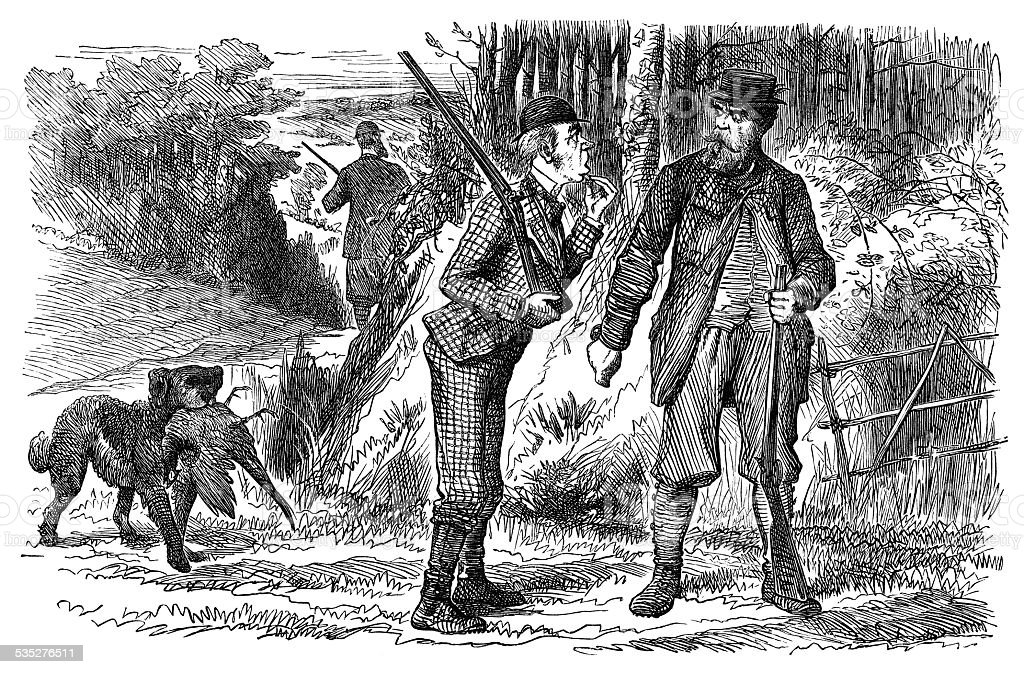 Group of Victorian men out shooting vector art illustration