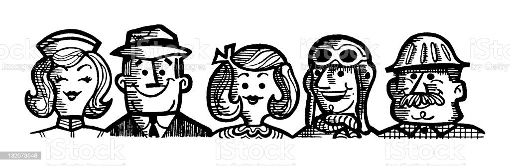 Group of Working People royalty-free stock vector art