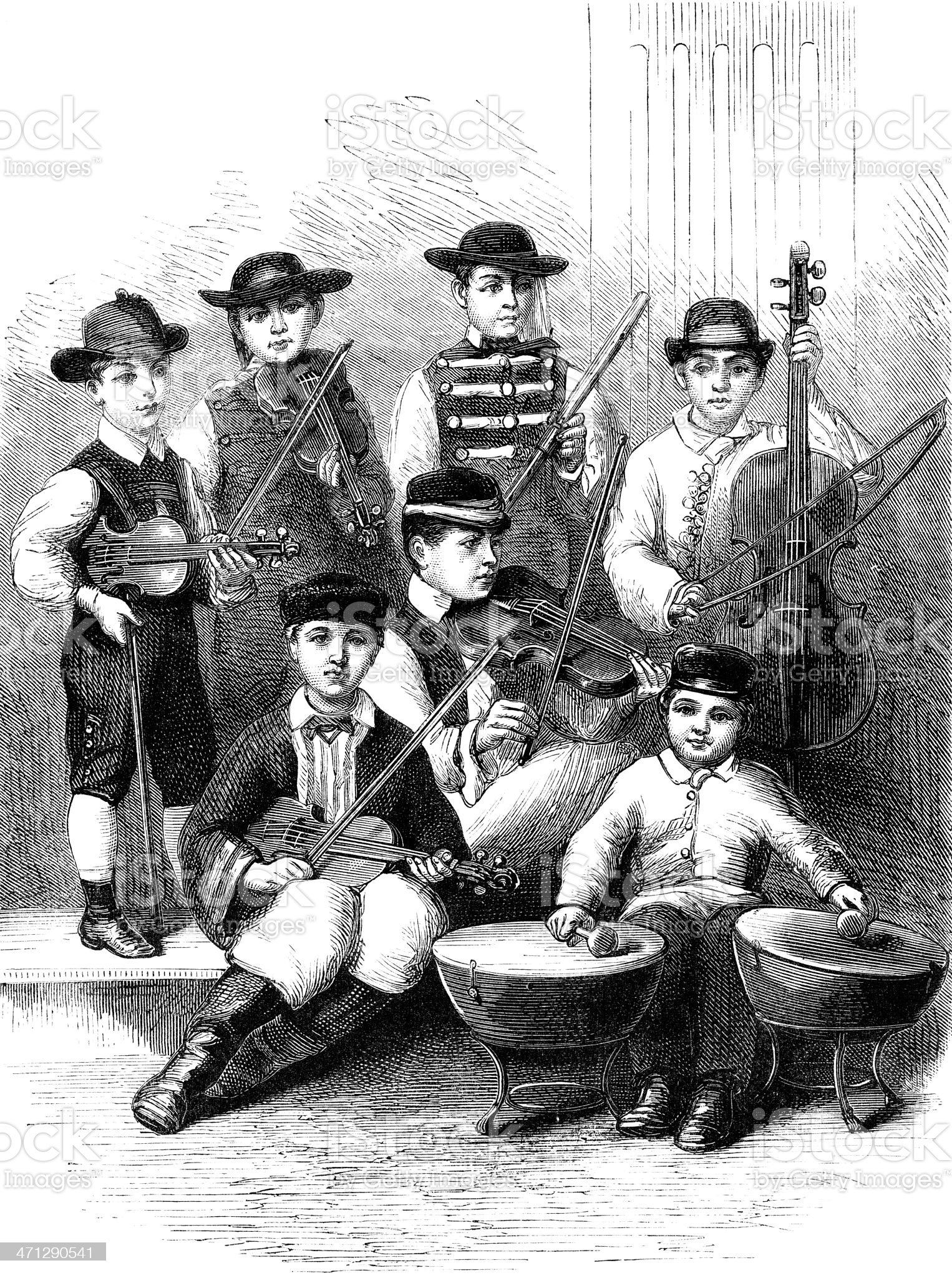 Group of young 19th century German musicians royalty-free stock vector art
