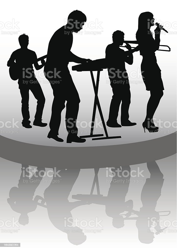 Group on stage and reflection royalty-free stock vector art