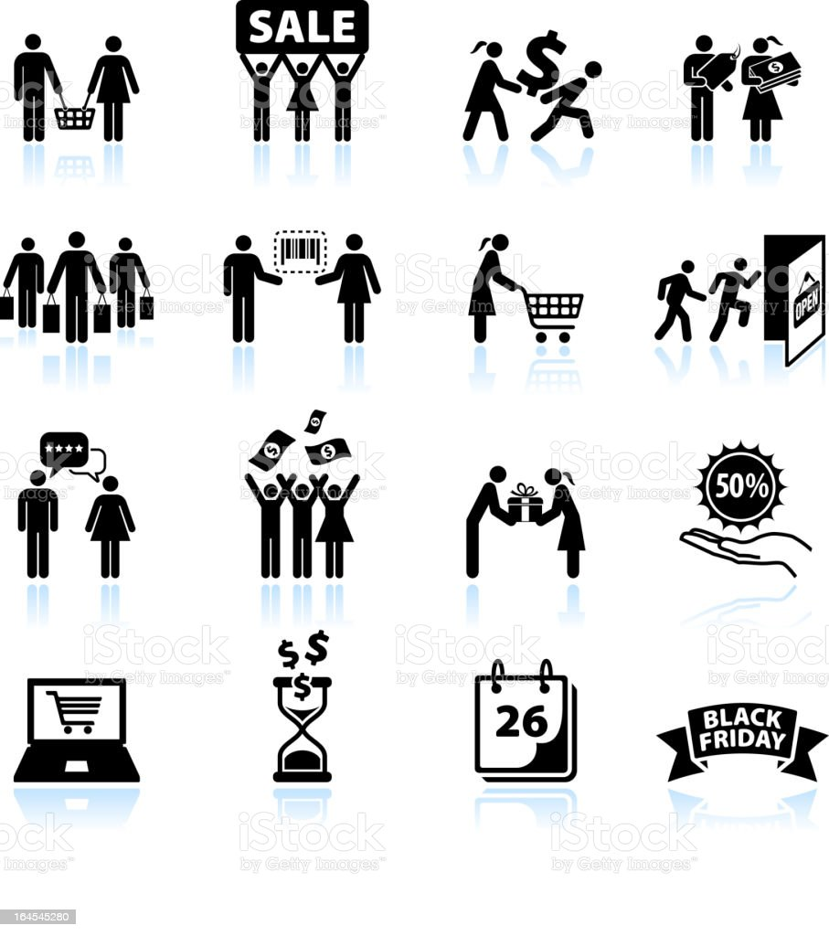 Group power Shopping and consumerism black & white icon set vector art illustration