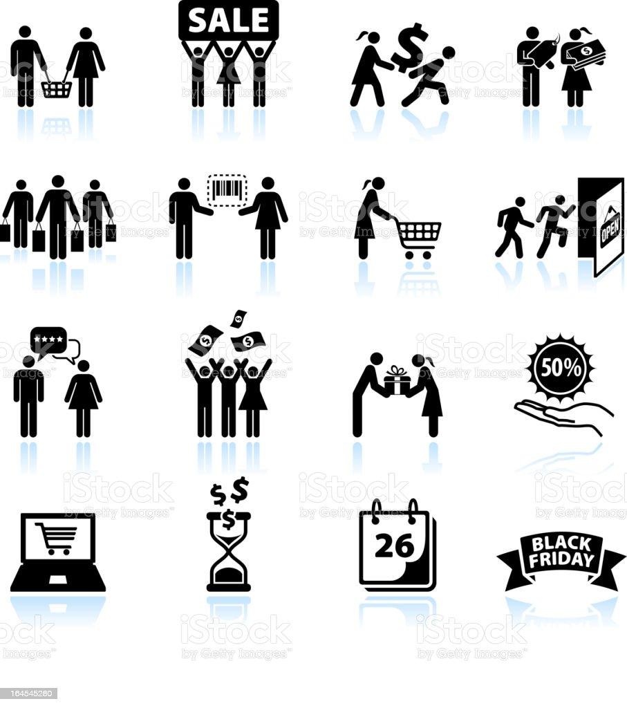 Group power Shopping and consumerism black & white icon set vector art illustration