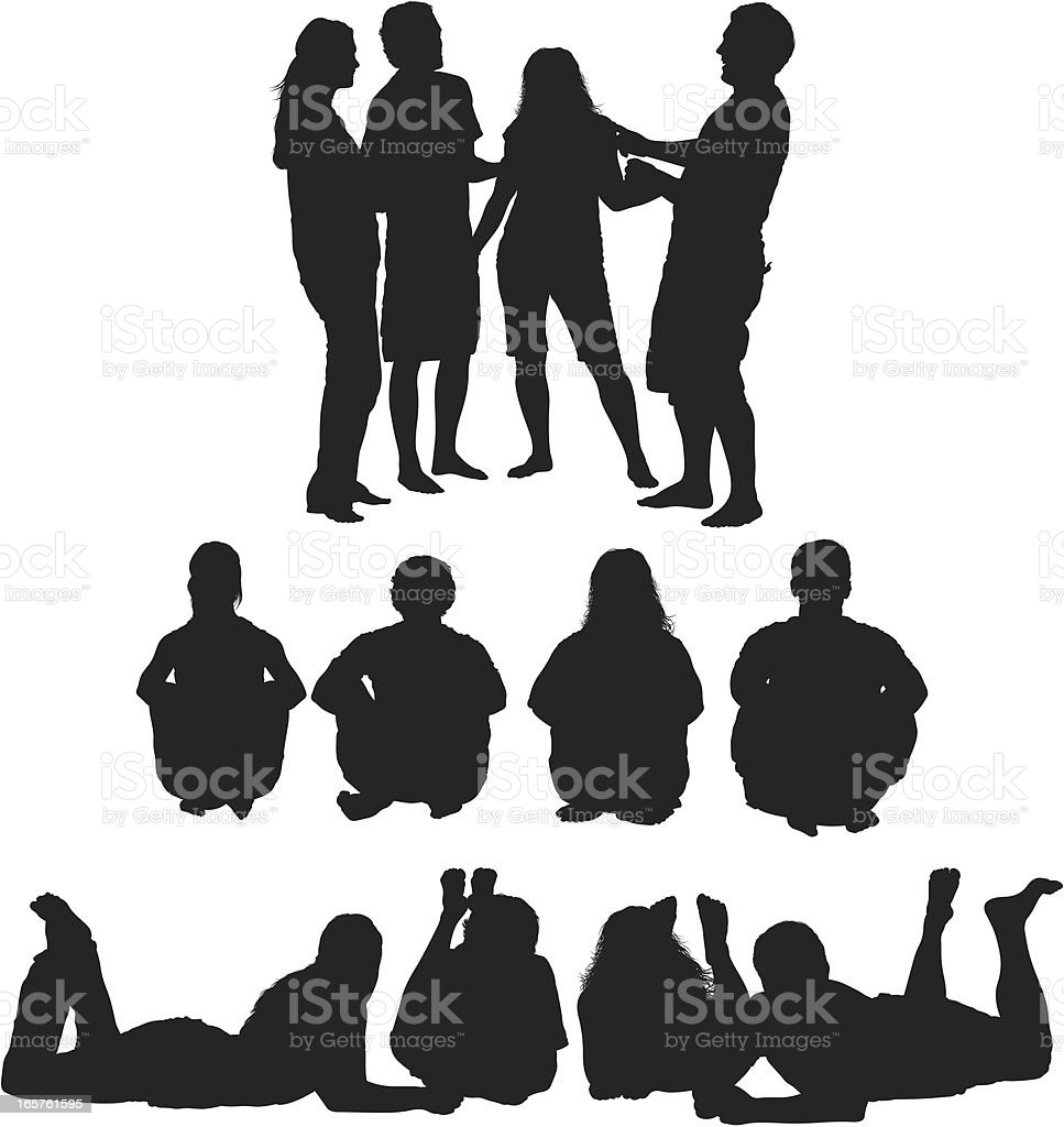Groups of friends silhouette images vector art illustration