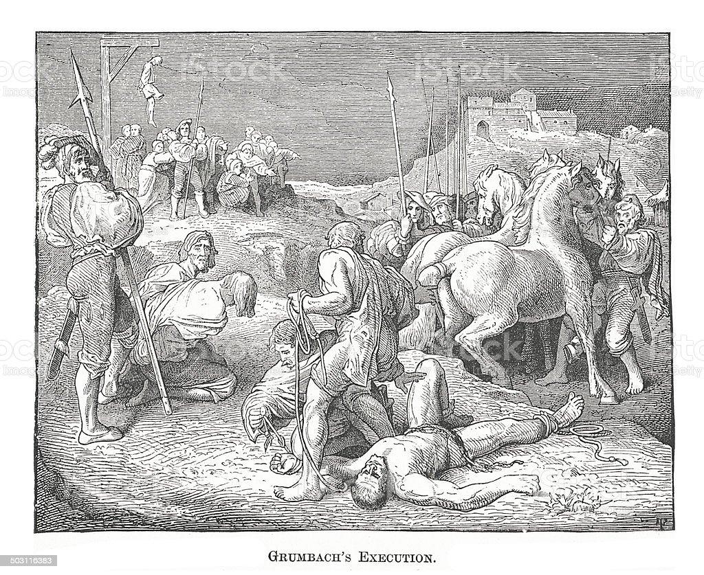 Grumbach's Execution (antique engraving) vector art illustration