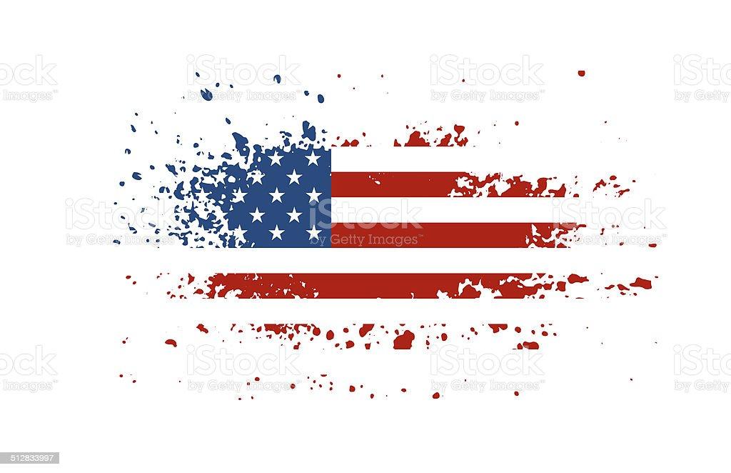 Grunge american ink splattered flag vector art illustration