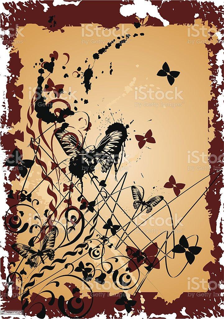 grunge  background with butterflies vector art illustration
