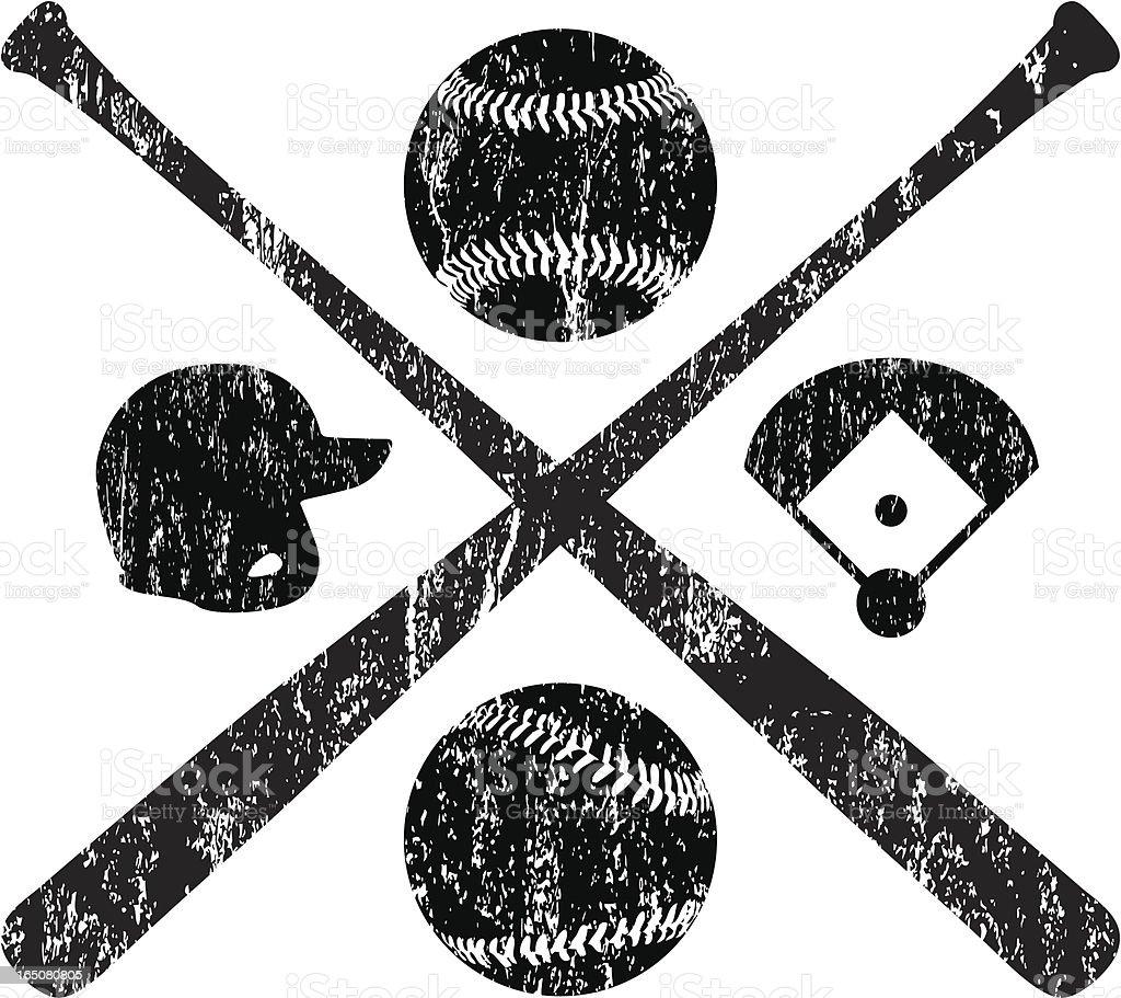 Grunge Baseball Elements royalty-free stock vector art