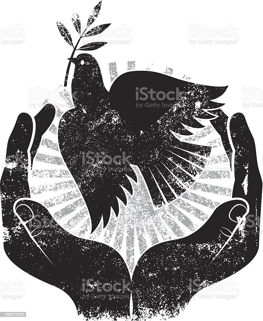 Grunge bird of peace vector art illustration