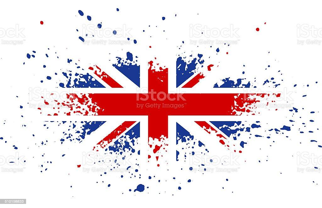 Grunge British ink splattered flag vector art illustration