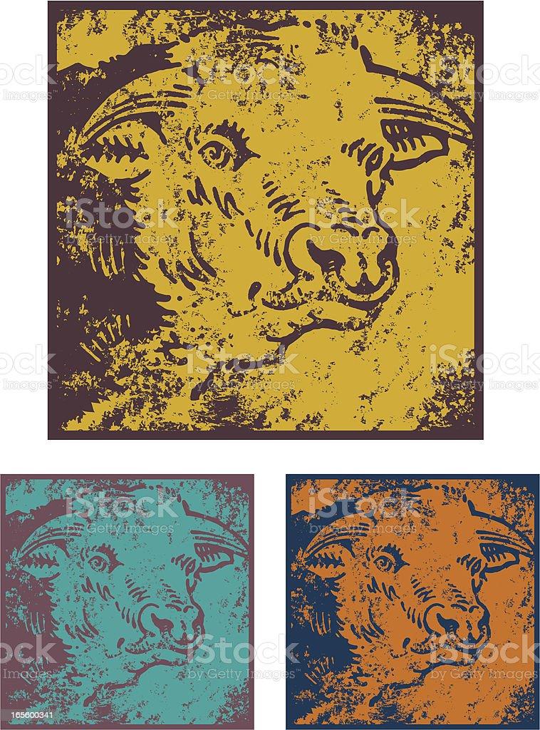 Grunge bull stencil two vector art illustration