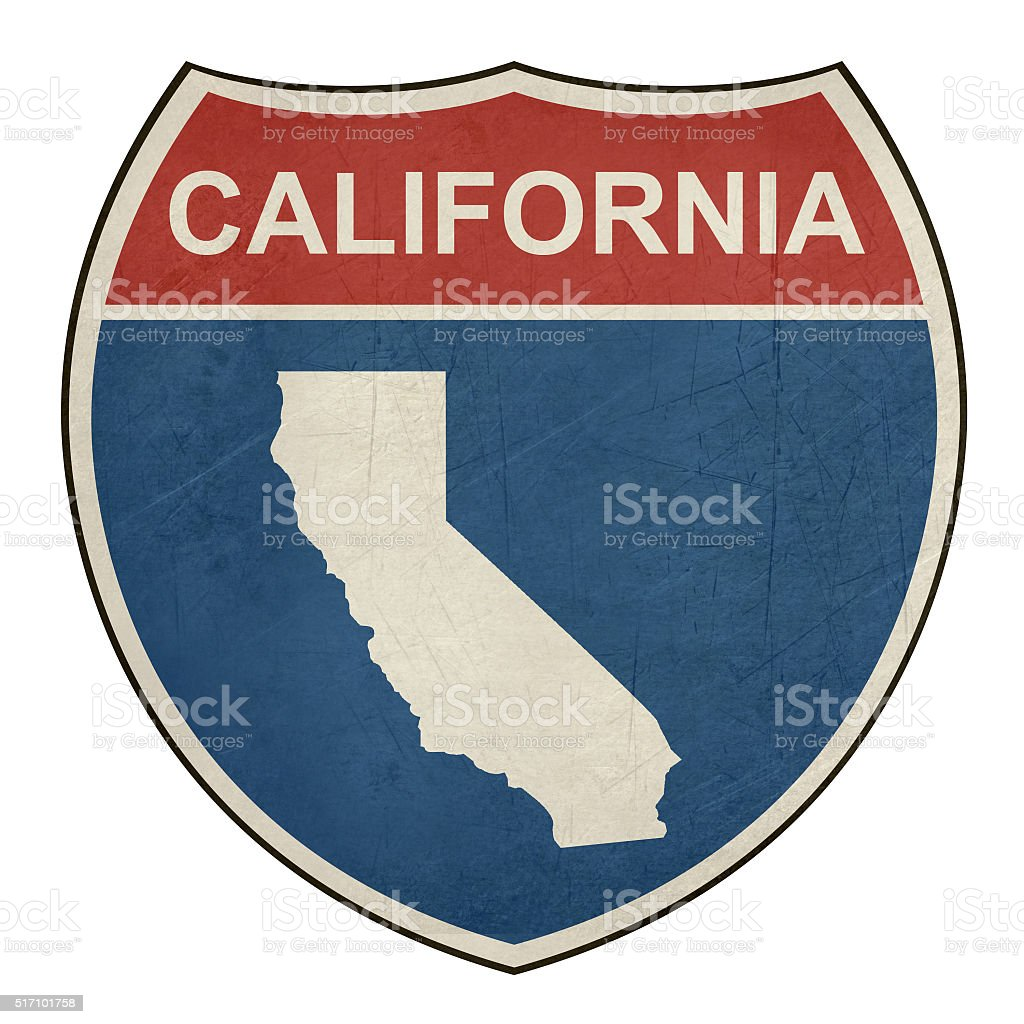 Grunge California interstate highway shield vector art illustration