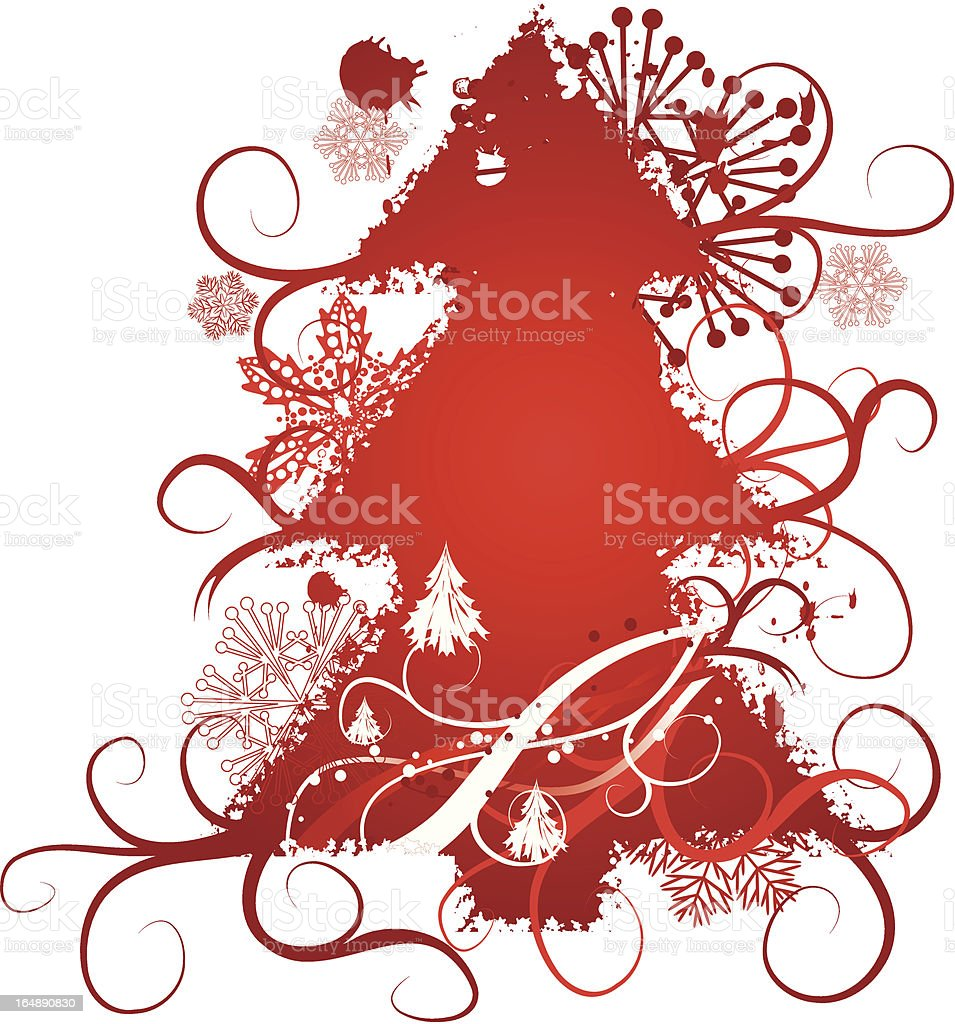 Grunge christmas tree, snowflakes background, vector royalty-free stock vector art
