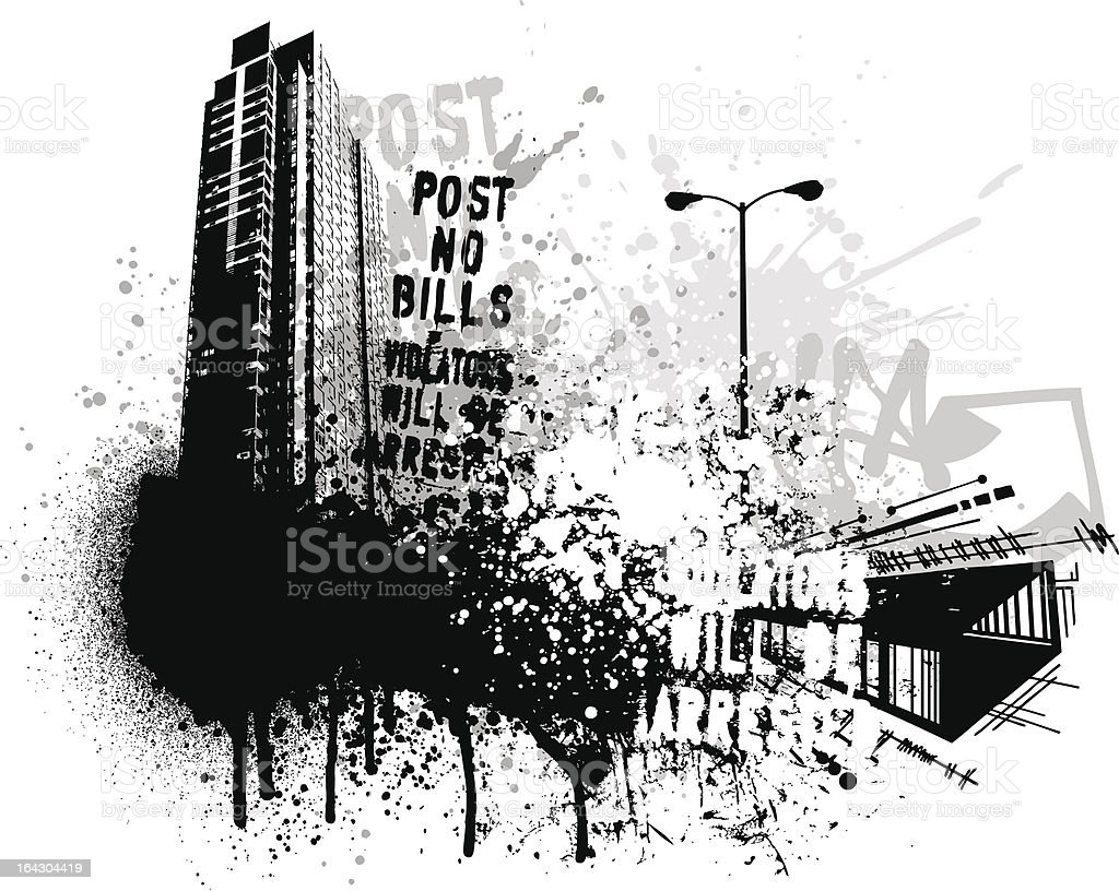 Grunge city building vector art illustration