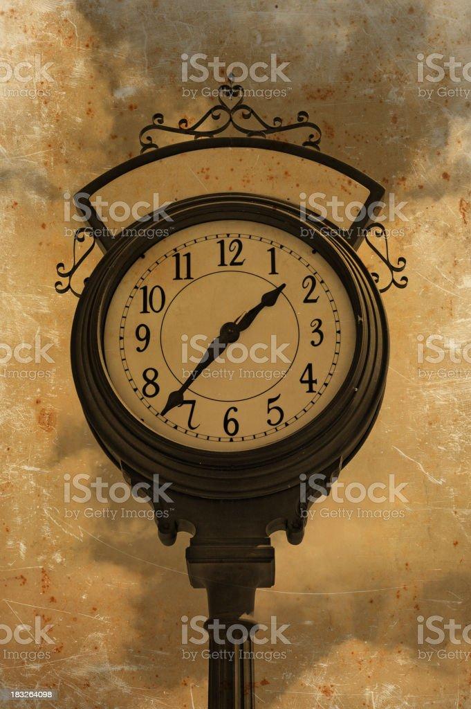 grunge clock vector art illustration