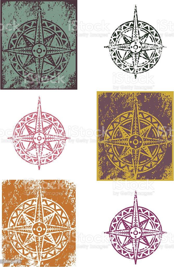 Grunge compass vector art illustration
