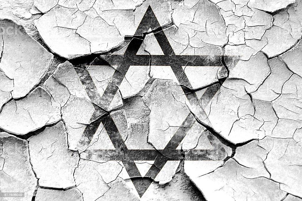 Grunge cracked Star of david vector art illustration
