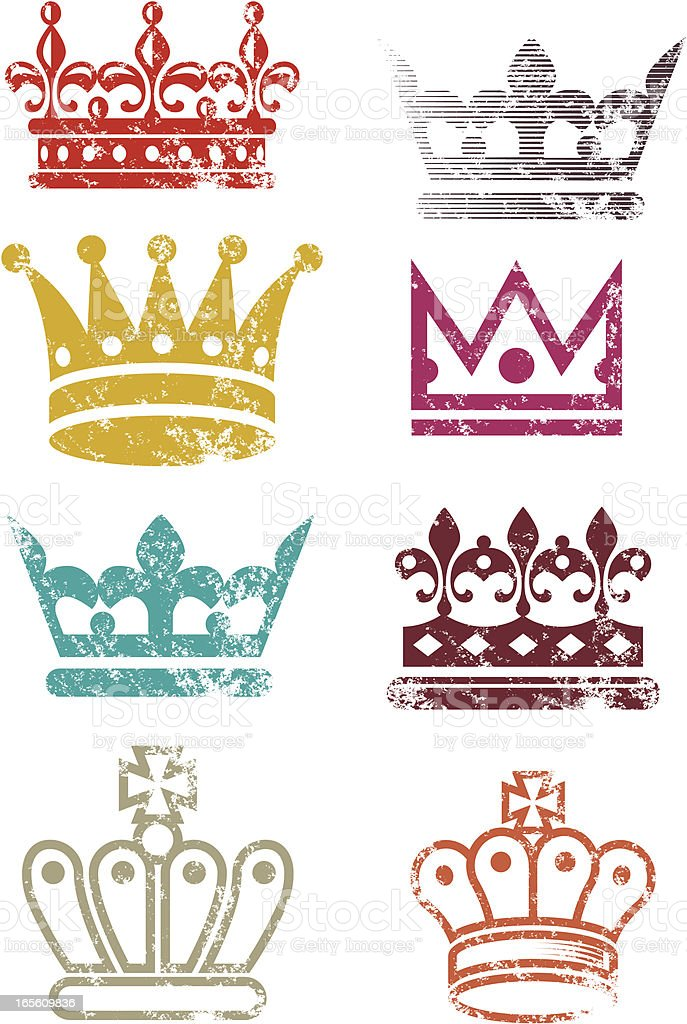 Grunge crowns royalty-free stock vector art